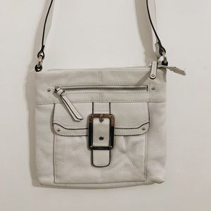 tignanello white purse with buckle